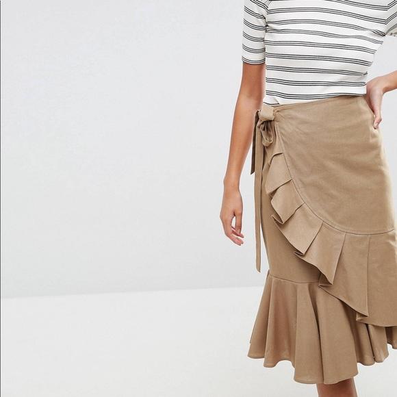 d38e0ce9ed ASOS Skirts | Midi Skirt In Twill With Frill Wrap Detail | Poshmark